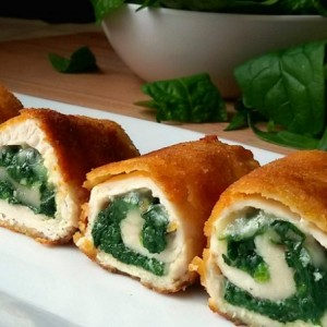 Rolls of chicken breast with spinach